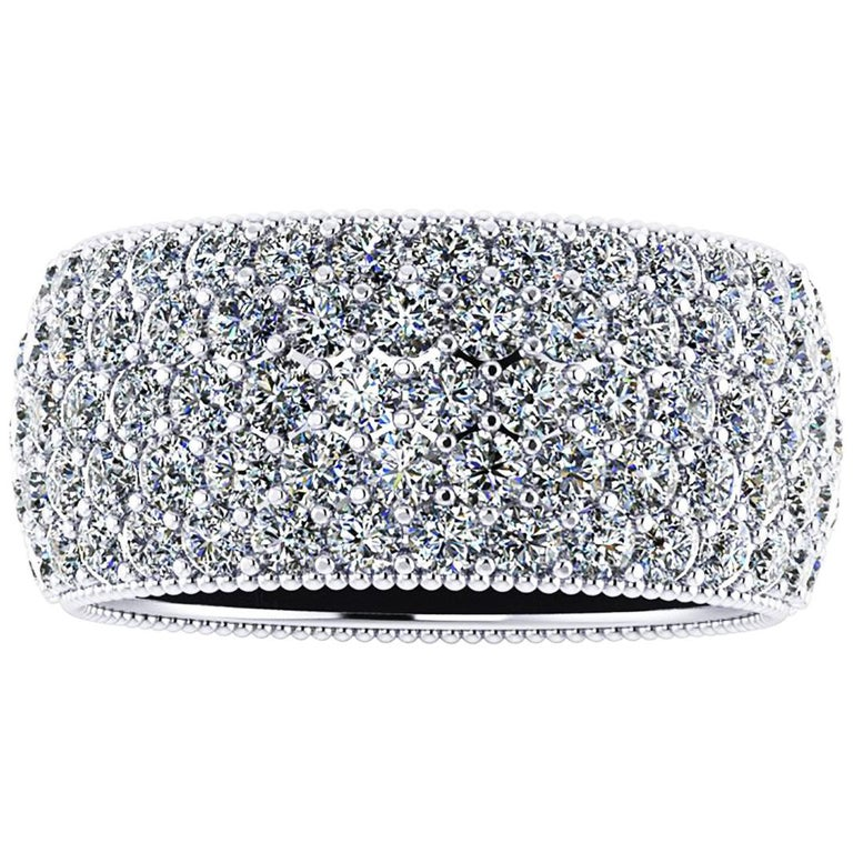 4.70 Carat Wide White Diamond Pavé Ring in 18 Karat White Gold For Sale