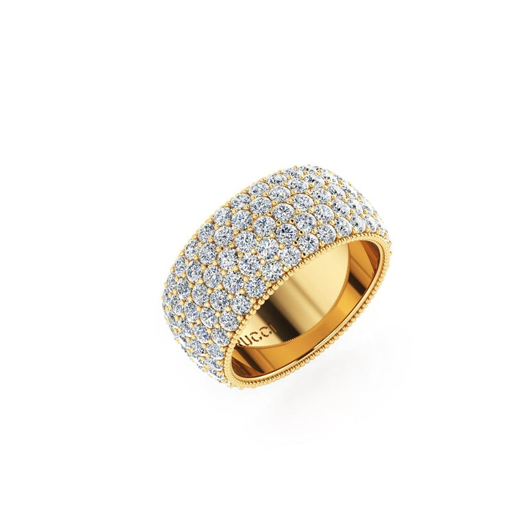 Wide diamond pave' ring, with a slightly dome feeling, a wrap of sparkling white diamonds, G color, SI1 clarity, for an approximate total carat weight of 4.70 carats, hand made in New York City with the best Italian craftsmanship, conceived in 18k