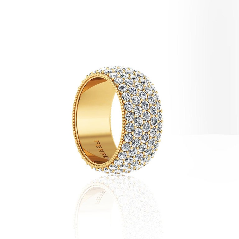 Modern 4.70 Carat Wide White Diamond Pave Ring in 18 Karat Yellow Gold For Sale