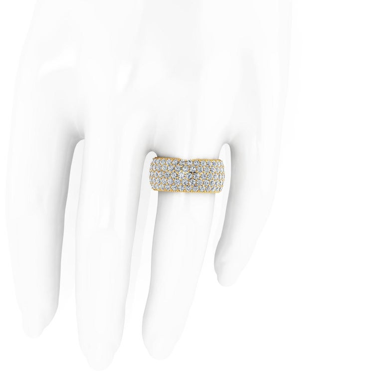 Round Cut 4.70 Carat Wide White Diamond Pave Ring in 18 Karat Yellow Gold For Sale