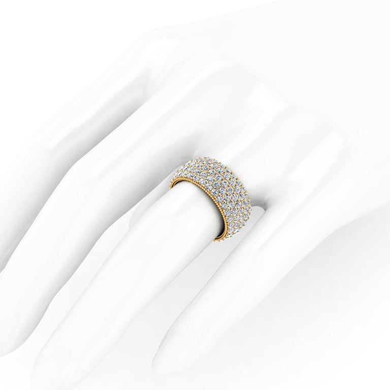 4.70 Carat Wide White Diamond Pave Ring in 18 Karat Yellow Gold In New Condition For Sale In Lake Peekskill, NY