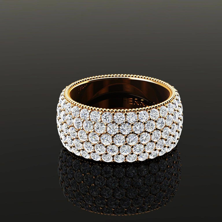 Women's 4.70 Carat Wide White Diamond Pave Ring in 18 Karat Yellow Gold For Sale