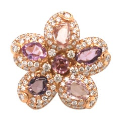 4.70 Carat Multi-Color Sapphires and 2.55 Diamonds Cocktail Ring Rose Gold