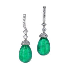 47.08 Carat Natural Green Cabochon Emerald and Diamond Drop Earrings