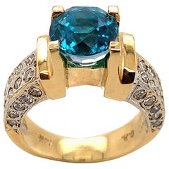 4.71 Carat Blue Zircon with Diamond Ring in 14 Karat Gold