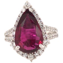 4.71 Carat Pear Shape Ruby and Diamond Halo Ring in 14 Karat White Gold