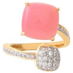 4.71 Carat Pink Opal Diamond Open Band Ring