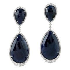 47.17 Carat Blue Sapphire Diamond 18 Karat Gold Earrings