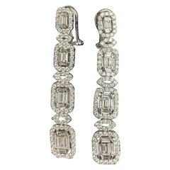 4.72 Carat Art Deco Style Dangling Diamond Earrings 18 Karat White Gold