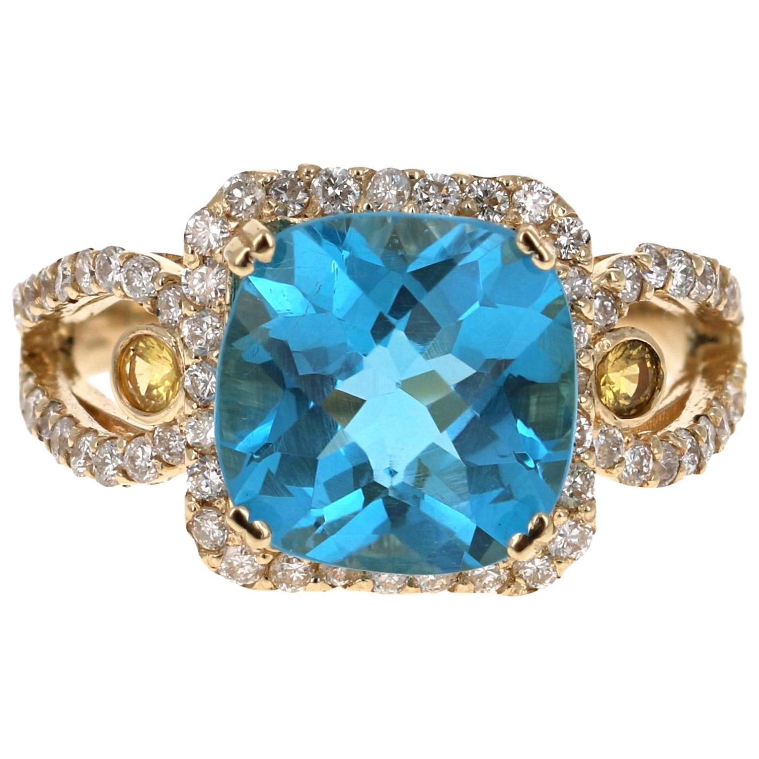 4.72 Carat Blue Topaz Sapphire Diamond Yellow Gold Cocktail Ring