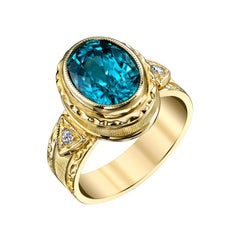 4.72 Carat Blue Zircon and Diamond Yellow Gold Engraved Bezel Signet Band Ring