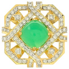 4.72 Carat Chrysoprase and Diamond 18 Karat Yellow Gold Ring