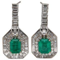 4.72 Carat Emerald and Diamond Earring in 18 Karat Gold