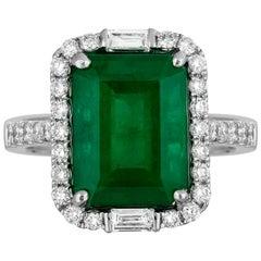 4.72 Carat Emerald Diamond Cocktail Ring