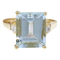 4.72 Carat Natural Aquamarine 18 Karat Solid Yellow Gold Diamond Ring
