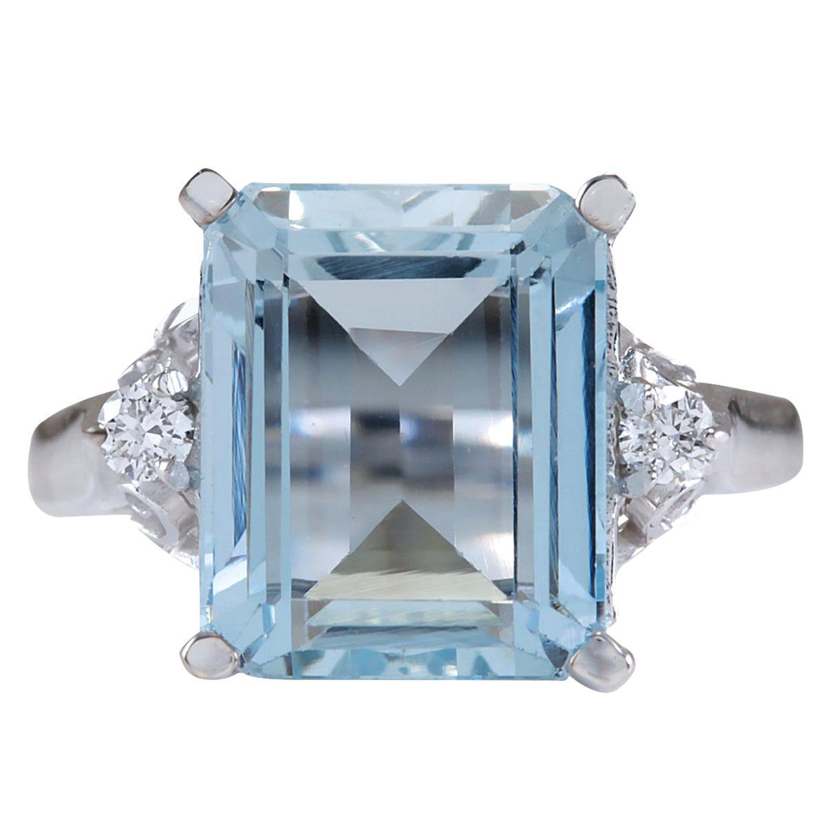 4.72 Carat Natural Aquamarine 18 Karat White Gold Diamond Ring