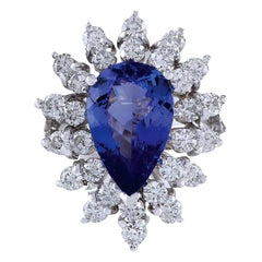 4.72 Carat Natural Tanzanite 18 Karat White Gold Diamond Ring
