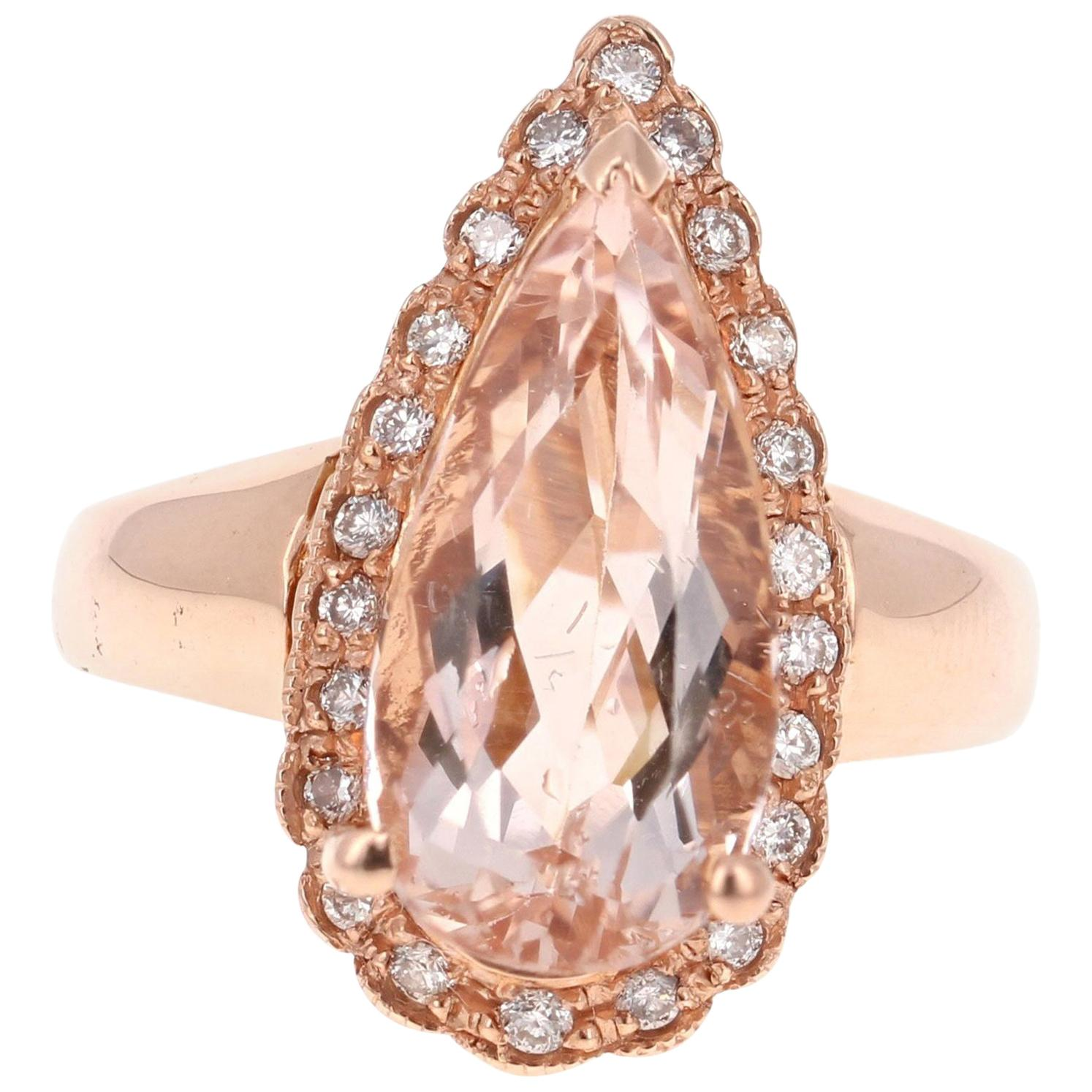 4.72 Carat Pear Cut Morganite Diamond 14 Karat Rose Gold Ring