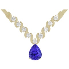 4.72 Carat Pear Shaped Tanzanite and White Diamond Necklace