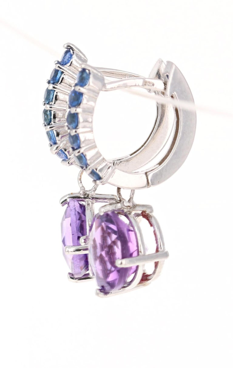 Round Cut 4.73 Carat Amethyst and Blue Sapphire Drop Earrings 14 Karat White Gold For Sale