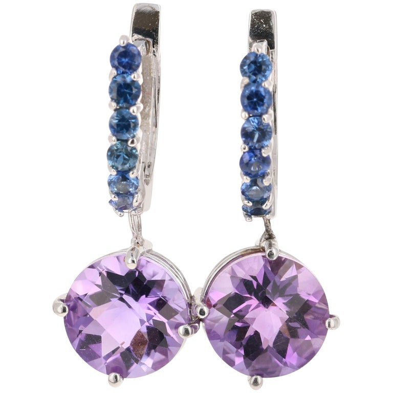 4.73 Carat Amethyst and Blue Sapphire Drop Earrings 14 Karat White Gold For Sale