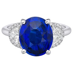 4.73 Carat Royal Blue Sapphire GRS Certified Diamond Ceylon Ring Oval Cut