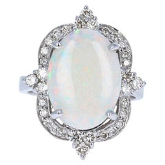 4.73 Carat Opal Diamond 14 Karat White Gold Ring