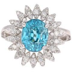 4.74 Carat Blue Zircon Diamond White Gold Cocktail Ring