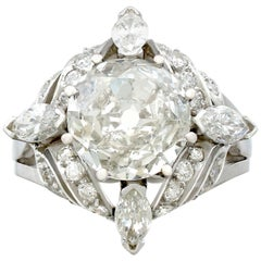4.74 Carat Diamond and Platinum Cocktail Ring