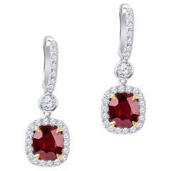 4.74 Carat in Rubies 'GIA' with 1.10 Carat in Round Brilliant Diamond Earrings