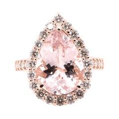 4.74 Carat Natural Morganite and Diamond Cocktail Ring Set in 18 Karat Rose Gold