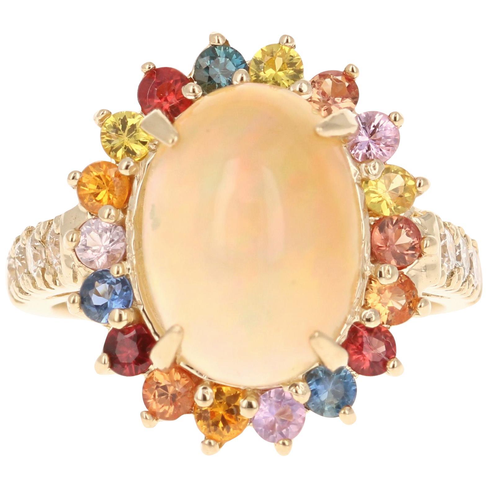 4.74 Carat Opal Sapphire Diamond 14 Karat Yellow Gold Ring