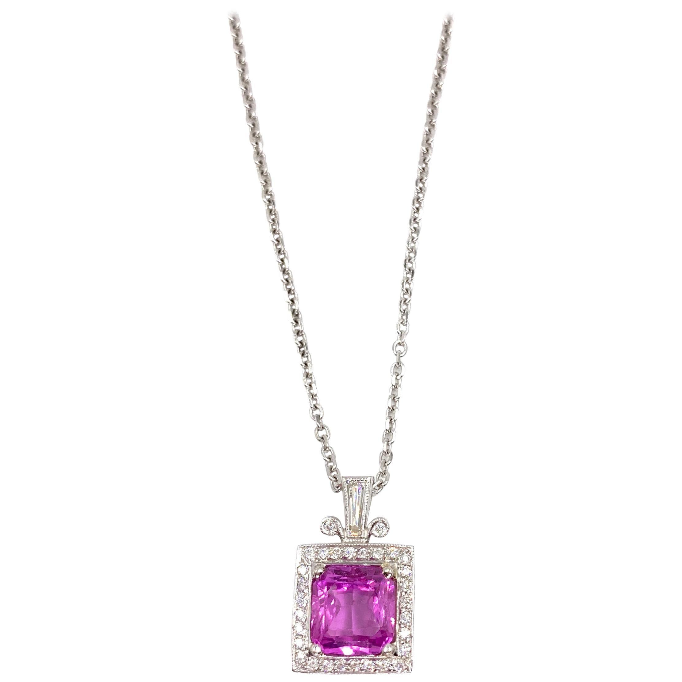 4.74 Carat Pink Sapphire and Diamond Pendant Necklace