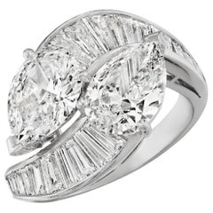 "4.74 Carat 'total weight' Pear and Baguette Diamond ""Bypass"" Ring in Platinum"