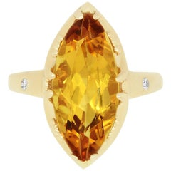 4.74 Carat Yellow Beryl Marquise Cocktail Ring