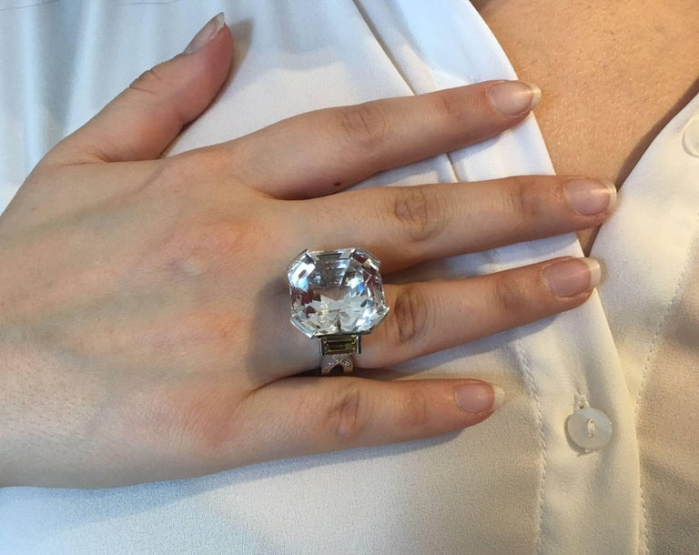 47.40 Carat Asscher Cut White Topaz Diamond Gold Ring 3