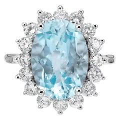 4.75 Aquamarine Diamond Halo White Gold Engagement Ring