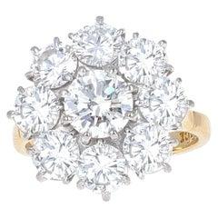 4.75 Carat Art Deco Style Flower Diamond Cocktail Ring