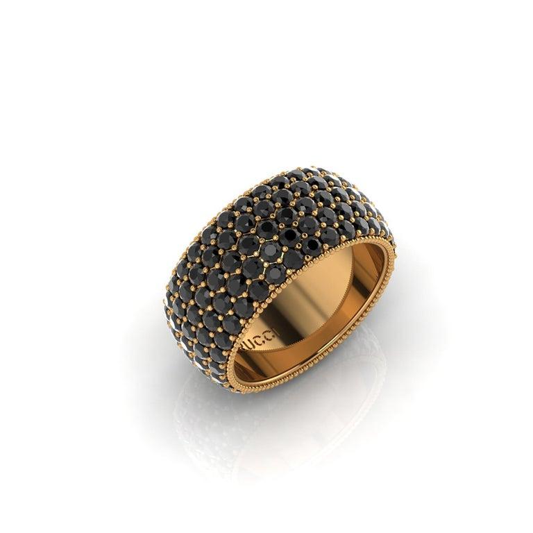Modern 4.75 Carat Black Diamonds 18 Karat Yellow Gold For Sale