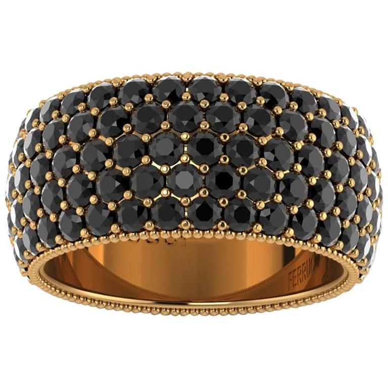 4.75 Carat Black Diamonds 18 Karat Yellow Gold For Sale