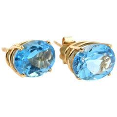 4.75 Carat Blue Topaz 14 Karat Yellow Gold Stud Earrings