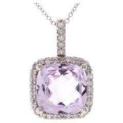 4.75 Carat Cushion Cut Rose Amethyst and White Diamond Pendant