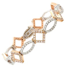 4.75 Carat Diamond 18 Karat Solid Two-Tone Gold Bracelet