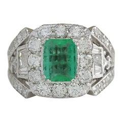 4.75 Carat Emerald 18 Karat White Gold Diamond Ring