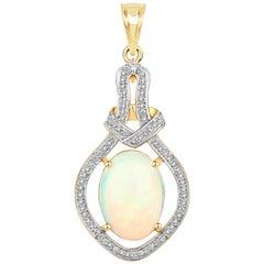 4.75 Carat Ethiopian Opal and White Diamond 14 Karat Yellow Gold Pendant