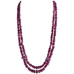 475 Carat Natural Burmese Ruby Beads Multi Strand Necklace