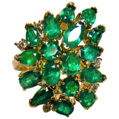 4.75 Carat Natural Colombian Emerald Cluster Cocktail Ring 18K Gold