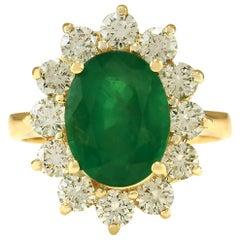 4.75 Carat Natural Emerald 18 Karat Yellow Gold Diamond Ring