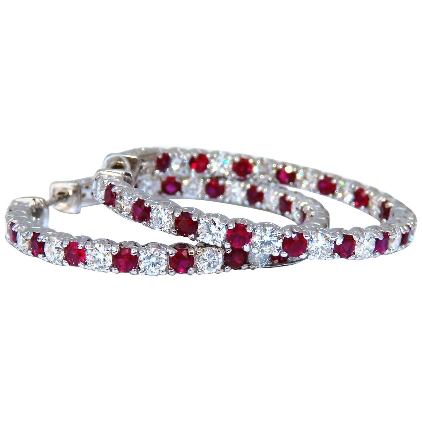 4.75 Carat Natural Red Ruby Diamond Hoop Earrings 14 Karat Gold