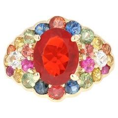 4.75 Carat Oval Cut Fire Opal Sapphire 14 Karat Yellow Gold Cocktail Ring